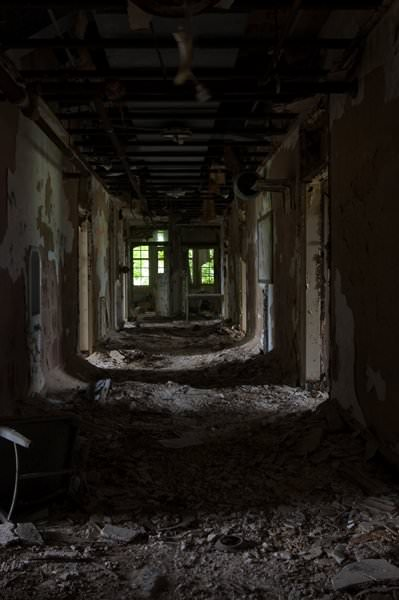 Shadowed Hallway; Fuller State School and Hospital
