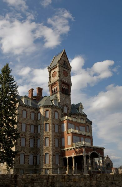 Photo of the abandoned Worcester State Hospital in Worcester, MA