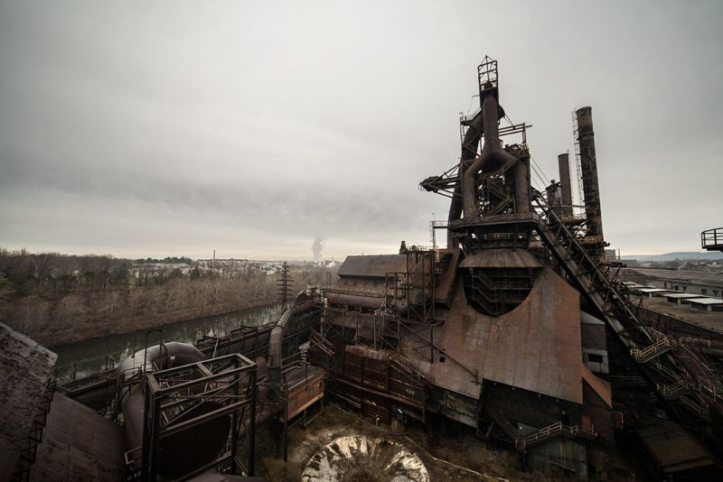 Photo of the abandoned Bethlehem Steel Mill in Bethlehem, PA